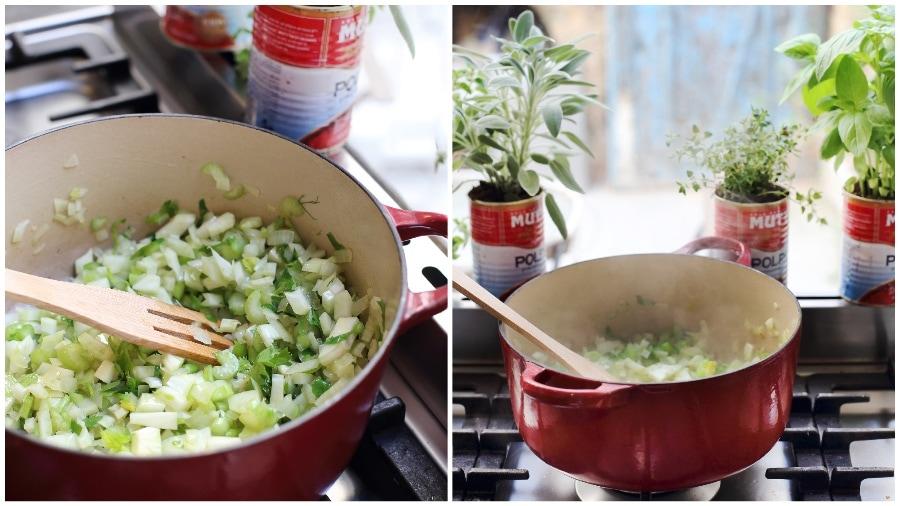 טיגון הירקות למרק עגבניות